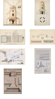 19th century architectural engineering plans and industrial design drawings